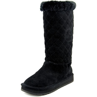 Michael Michael Kors Sandy Quilted Boot Women Round Toe Suede Black Winter  Boot (Option: