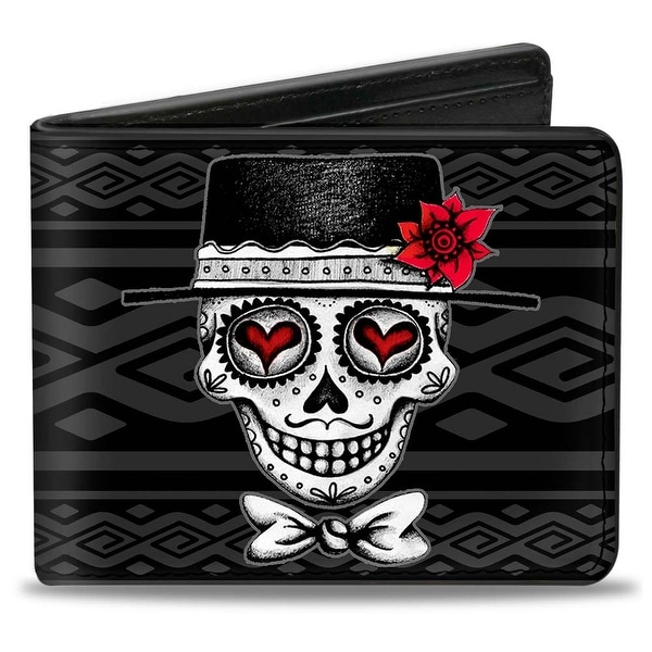 Los Novios Black Gray White Multi Color Bi Fold Wallet - One Size Fits most