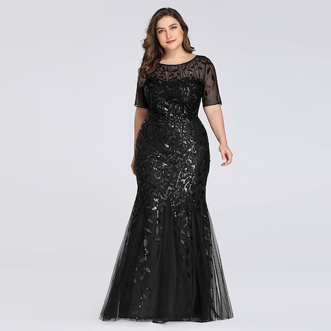 Ever-Pretty Womens Plus Size Sequin Tulle Formal Evening Prom Ball Gown 77072