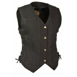 Womens Denim 6 Pocket Side Lace Vest w/ Gun Pockets