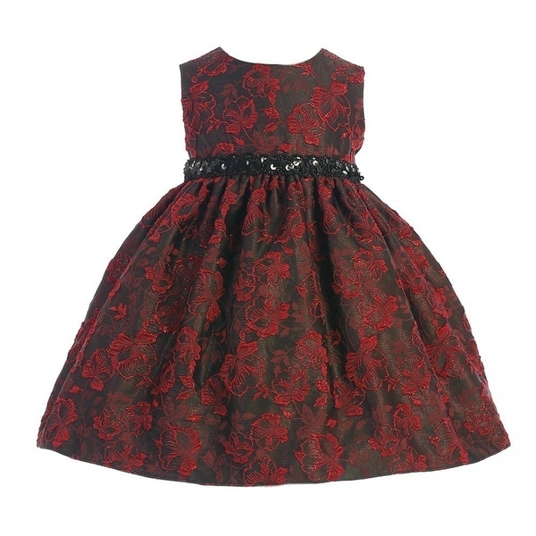 Shop Crayon Kids Baby Girls Red Black Floral Sequined Belt