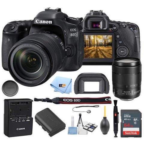 Canon EOS 80D Camera Accessory Kit W/ 18-135 mm Lens + 64GB