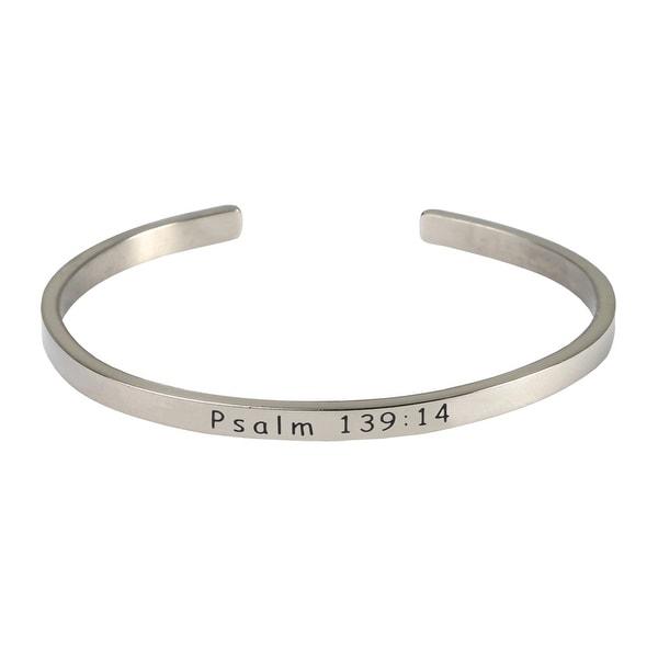 Women's Bible Verse Sterling Silver Engraved Cuff Bracelet - Psalm 139:14