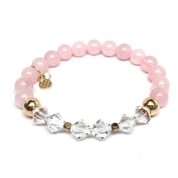 """Pink Rose Quartz & Crystal Chloe 7"""" Bracelet"""