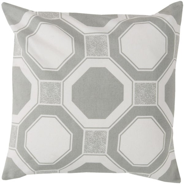 "20"" x 20"" Octagon Lock Cement Gray and Eggshell White Decorative Square Throw Pillow - Down Filler"