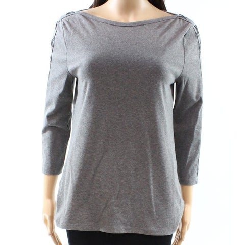 Lauren by Ralph Lauren Gray Women's Size XXL Plus Lace Up Knit Top