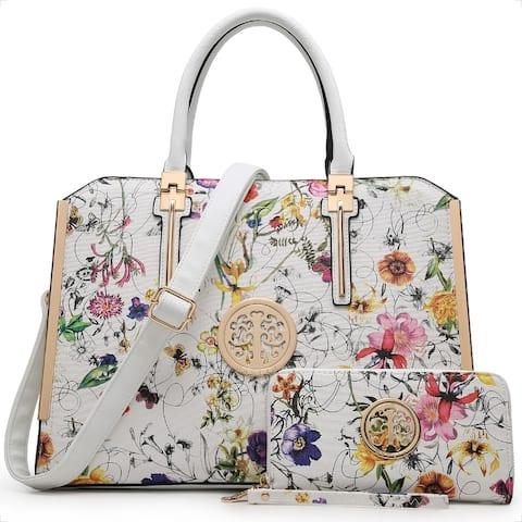 Dasein Floral PU Leather Briefcase Satchel Handbag with Wallet