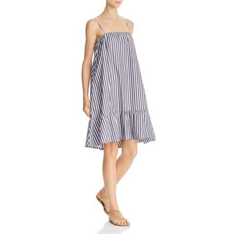 ATM Womens Tank Dress Striped Ruffled - Mariana/White