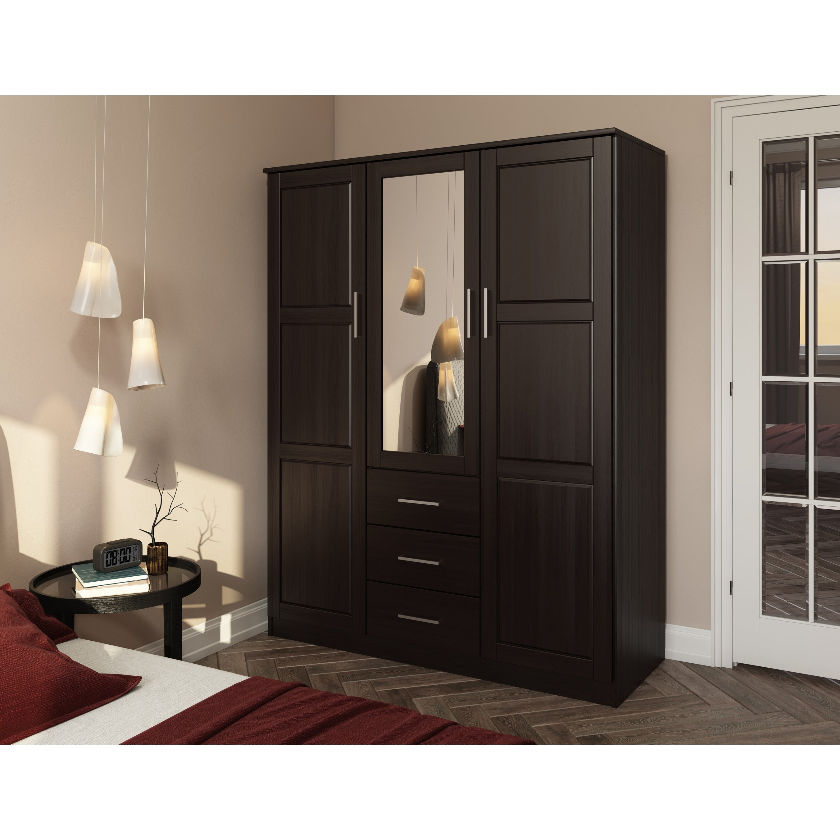 Shop Cosmo Solid Wood 3 Door Wardrobe With Mirror By Palace Imports On Sale Overstock 27120317