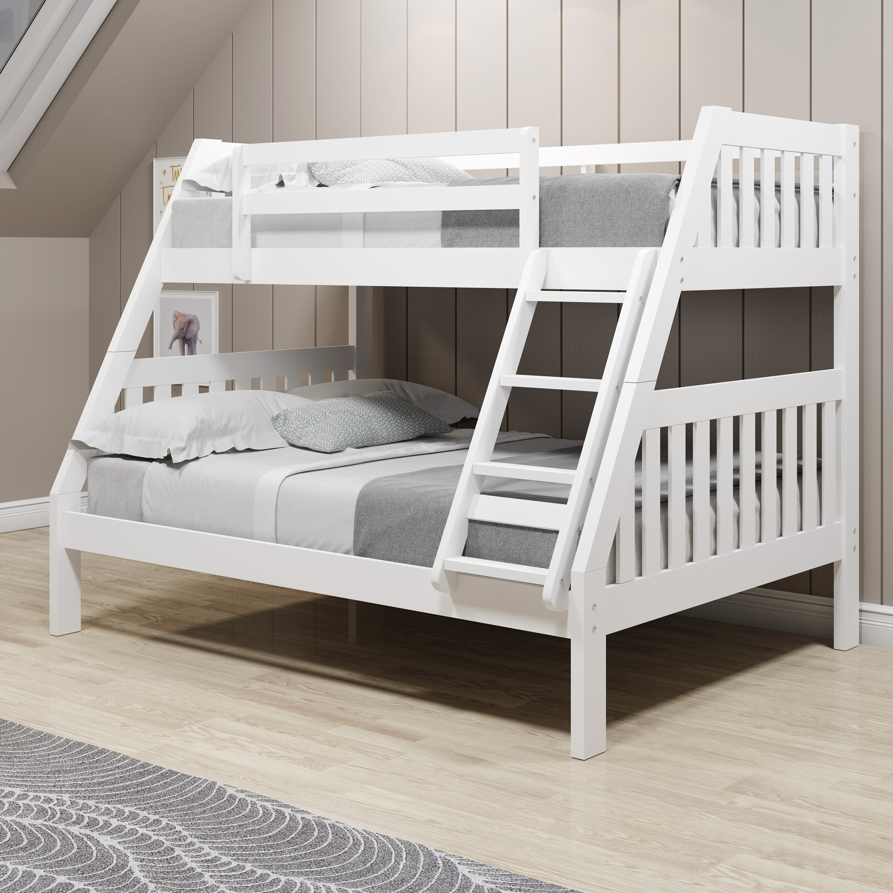 Picture of: Twin Over Full White Pine Wood Mission Bunk Bed Overstock 31226782 Standalone Bunk White
