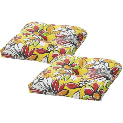 Tempo Outdoor Zoe Canary Single Cushions Set of 2 - 19x19