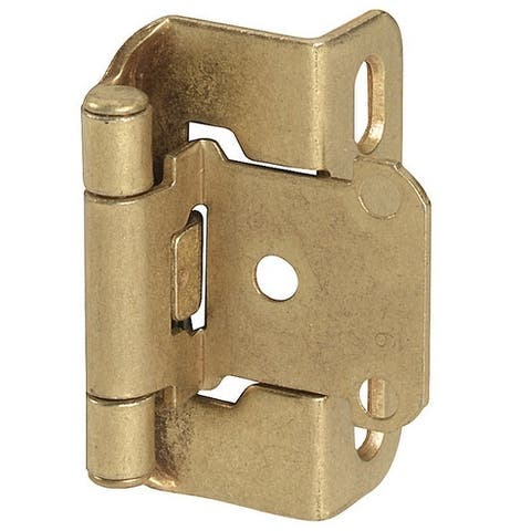 Amerock BPR7550BB Overlay Self-Closing Partial Wrap Hinge, Burnished Brass