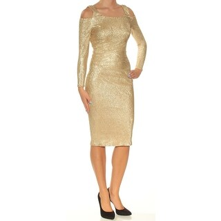 Womens Gold Long Sleeve Knee Length Body Con Casual Dress Size: 2