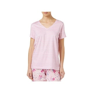 Hue Womens Pajama Top Striped V-Neck