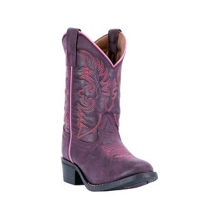 Laredo Western Boots Girls Leather Pull Strap Round Purple LC2457