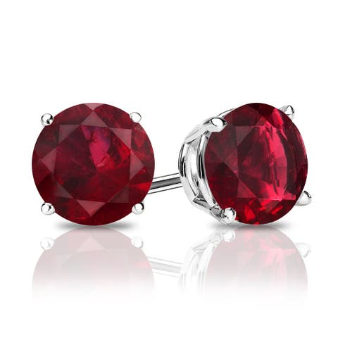 Auriya 14k Gold 1ctw Red Ruby Gemstone Stud Earrings