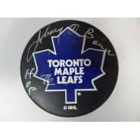 Signed Bower Johnny Toronto Maple Leafs Toronto Maple Leafs Hockey Puck autographed