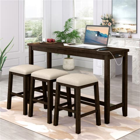 [Presale] 4-PCS Counter Height Wooden Dining Set with Socket and 3 Fabric Padded Stools,Brown