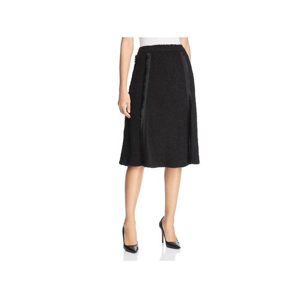 Donna Karan Womens A-Line Skirt Frayed Pleated