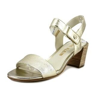 Calvin Klein Jackie Women  Open-Toe Leather Gold Heels