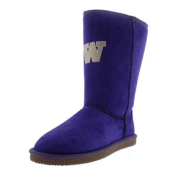 Cuce Shoes Womens Washington Huskies Faux Suede Mid-Calf Casual Boots