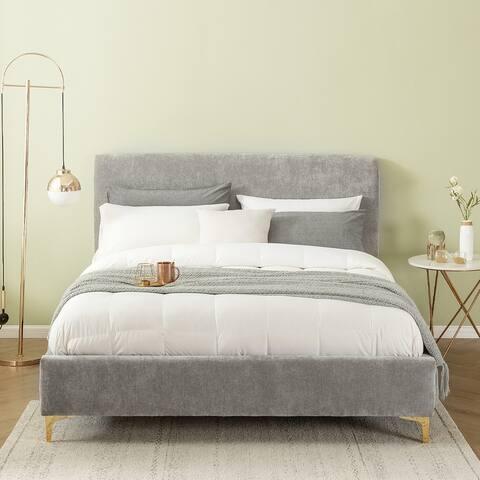 GEORGIA Distressed Velvet Fully Upholstered Queen-size Platform Bed