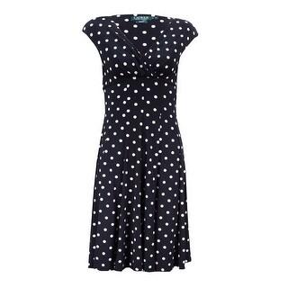 Lauren Ralph Lauren Women's Petite Polka Dotted A-Line Dress - Black/Cream