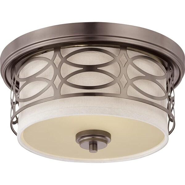 "Nuvo Lighting 60/4727 Harlow 2 Light 13-3/8"" Wide Flush Mount Drum Ceiling Fixture"