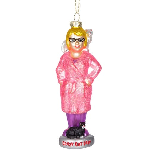 Crazy Cat Lady Glass Holiday Ornament