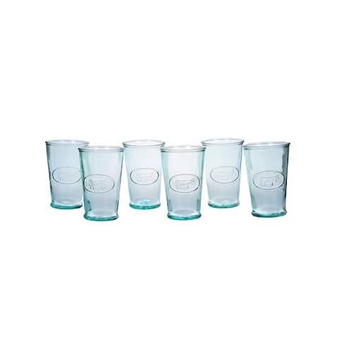 Amici Milk Glasses, Recycled Green Glass Cow Design, 11 oz - Set of 6