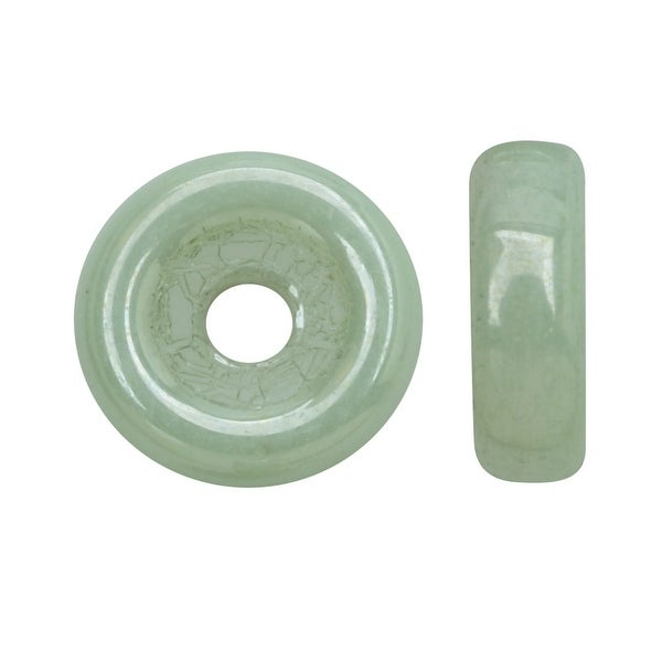 Czech Glass, Flattened Wheel Beads 6mm, 19 Gram Tube, Chalk Light Green Luster