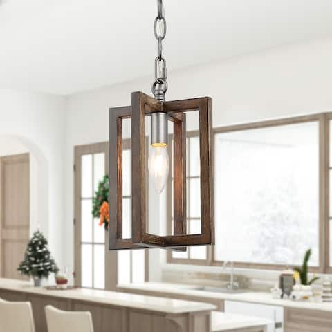 "Farmhouse Pendant Lighting 1-light Wooden Hanging Ceiling Light for Kitchen,Dining Room - W6.5""xH10.2"""