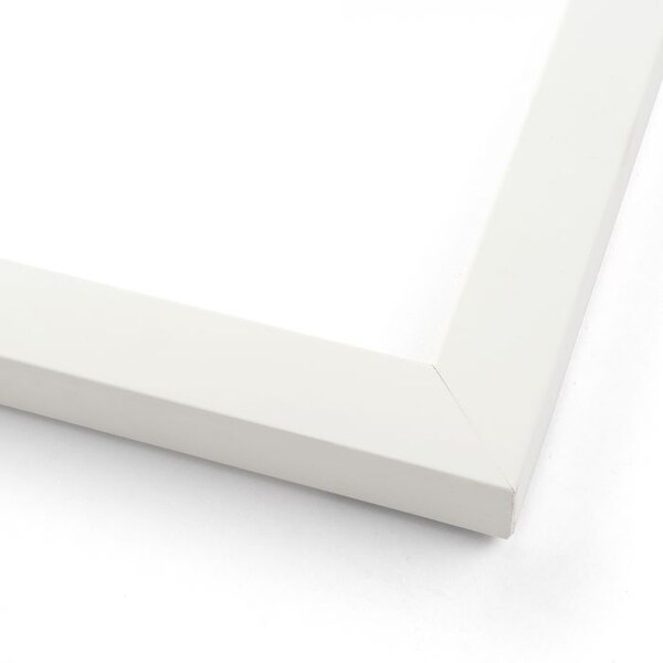 White Wood Picture Frame - Made To Display Artwork Measuring 40x14 Inches - Matte White (solid wood)