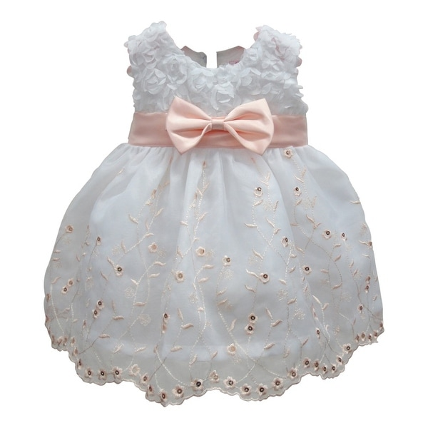 Baby Girls Peach White Floral Embroidery Soutache Flower Girl Dress 6-24M
