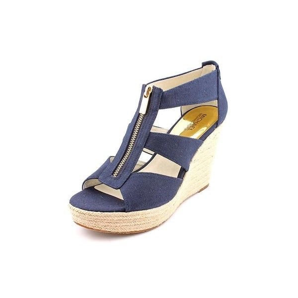 Michael Michael Kors Damita Wedge Open Toe Canvas Wedge Sandal