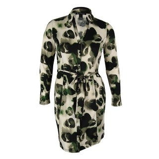 INC International Concepts Women's Belted Shirt Dress - watercolor leopard - l