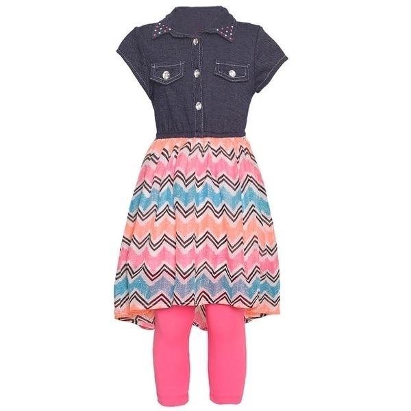 2a5f35522e Girls Neon Pink Chevron Stripe Chambray Top 2 Pc Legging Set