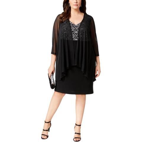 Connected Apparel Womens Plus Jacket Dress Lace Floral Print