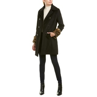 Link to Tahari Wrap Front Button Wool-Blend Coat Similar Items in Women's Outerwear