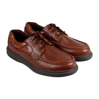 Hush Puppies Gus Mens Tan Leather Casual Dress Lace Up Boat Shoes Shoes