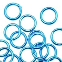 Capri Blue Color Aluminum Open Jump Rings 6mm 19 Gauge (50)