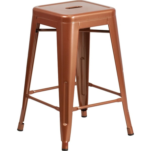 Brimmes 24'' High Backless Copper Indoor/Outdoor/Patio/Bar Counter Height Stool