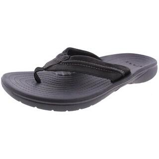 Crocs Mens Yukon Mesa Flip-Flops Leather Mesh Lined - 11 medium (d)