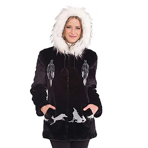"""DuMonde Black Mountain Ladies """"Dreamcatcher"""" Faux Fur Coat"""