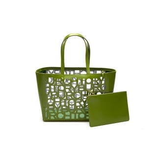 Tory Burch Women's Leather Handbag Tote Cut-Out Small Leafy Green - M
