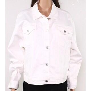 Lauren by Ralph Lauren Womens Denim Jacket White Medium M Button Front