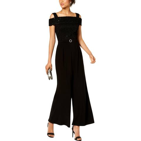 R&M Richards Womens Jumpsuit Lace Overlay Cold Shoulder
