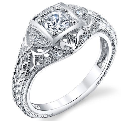 Oliveti Women's Carved Sterling Silver Vintage Cubic Zirconia BridalEngagement Ring Sizes 5-9