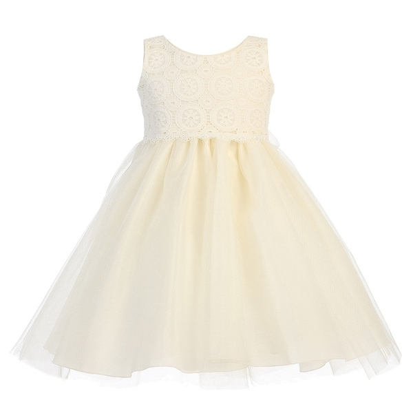 Baby Girls Ivory Lace Bodice Tulle Easter Flower Girl Dress 3-24M