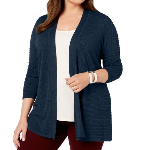 Charter Club Womens Sweater Navy Blue 3X Plus Pointelle Ribbed Cardigan